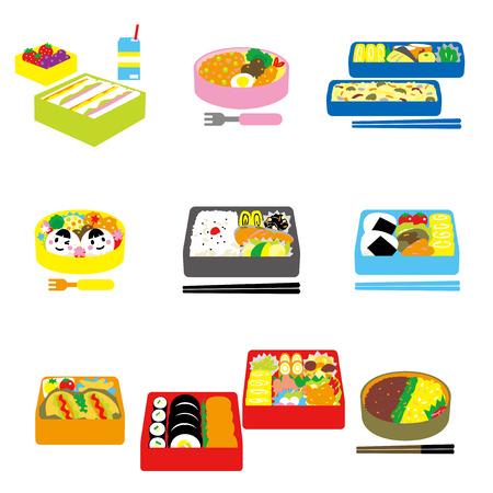 Vektor für Japanese BENTO, box lunch, bento box - Lizenzfreies Bild