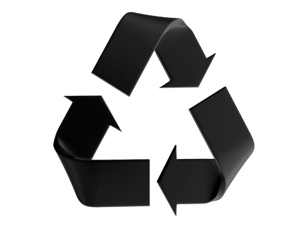 Black recycle sign on a white background