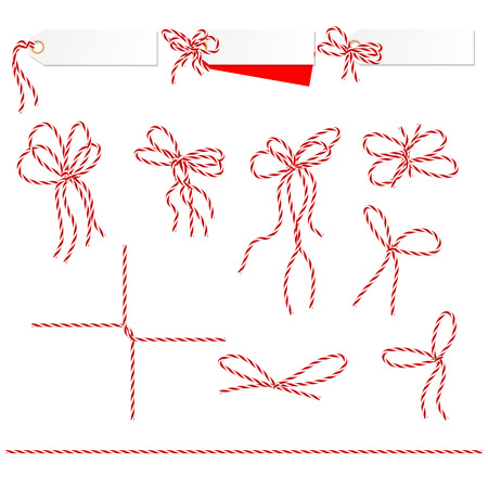 Collection of ribbons ahd bows in twine style can used as elements of your design