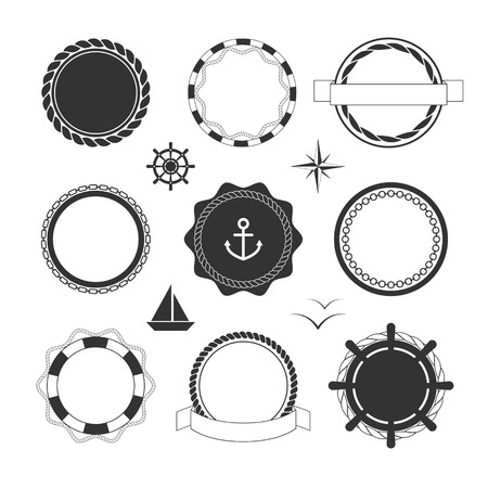 Collection of black nautical icons and badges templates