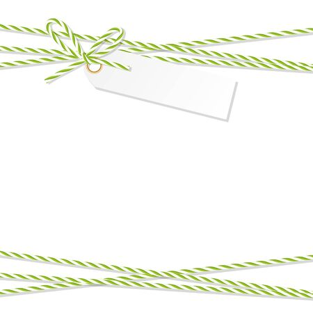 Abstract white background with tag label tied up with green rope bakers twine bow and ribbons