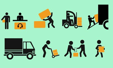 Illustration for Logistic icon set. Stick figure of delivery black. Simple pictogram with flat design - Royalty Free Image