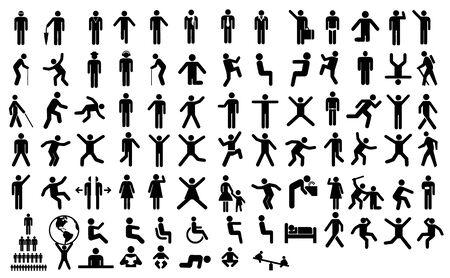 Illustration pour Big collection of people action pictogram - image libre de droit