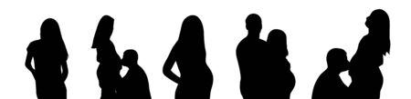 Illustration pour Pregnant Woman Silhouette on white background. Loving men and women wait a child. Photoshoot  - image libre de droit