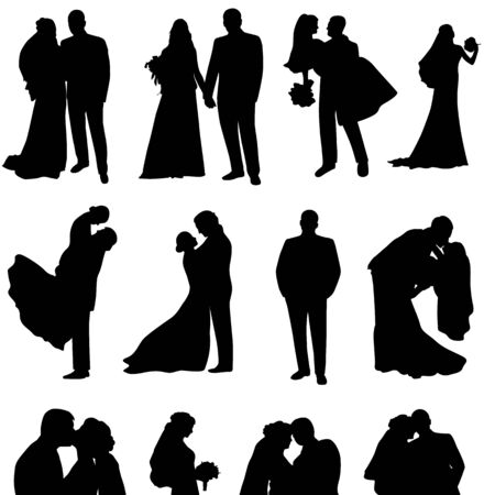 Illustration pour Set of vector silhouettes of a groom and a bride.Just married. - image libre de droit