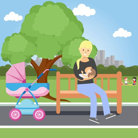 Illustration for Breastfeeding of a child in a public place. Freedom of women's right to breastfeeding. Vector illustration - Royalty Free Image
