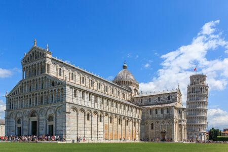 Photo for Piazza dei Miracoli with the leaning tower of Pisa and Cathedral Santa Maria Assunta, Tuscany, Italy - Royalty Free Image