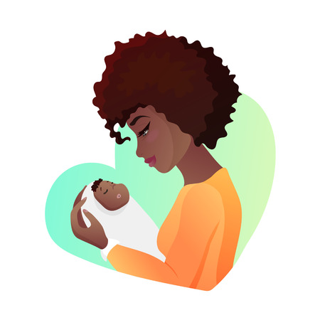 Young mother with baby in her hands.
