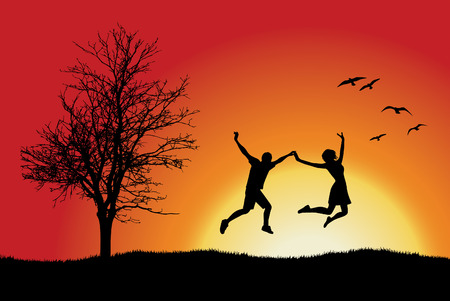 Illustration pour man and girl holding for hands and jumping on hill near bare tree, orange background - image libre de droit