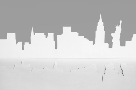 abstract cutout paper silhouette of New-York city, USA, Empire State Building and Statue of Liberty, front view