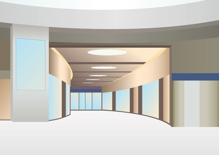 hall in trade center with corridor and windows, vector