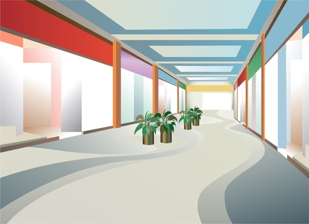 corridor in mall with windows, vector