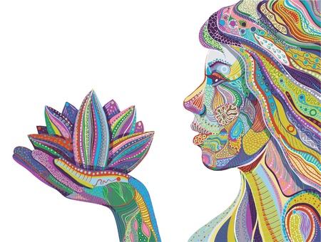 Illustration pour woman with lotus flower, bright ornate pattern vector - image libre de droit