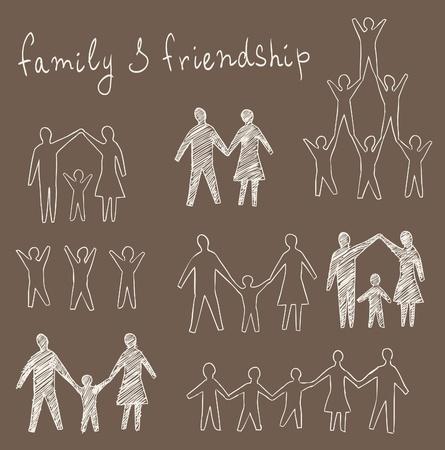 family and friendship symbols set