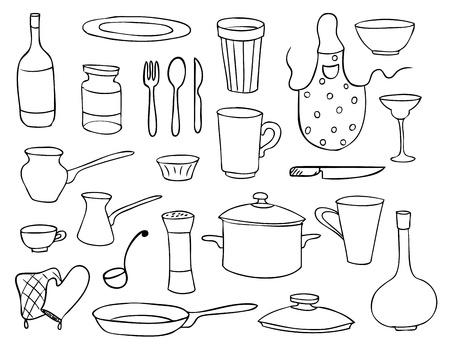 Illustration pour household objects and dishes vector set - image libre de droit