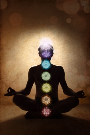 Yoga man in lotus pose with chakra symbols