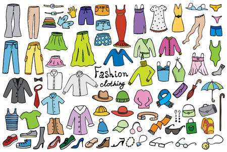 Ilustración de fashion and clothing color icons vector collection - Imagen libre de derechos