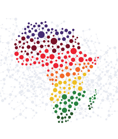 Illustration pour Africa abstract background with dot connection vector - image libre de droit
