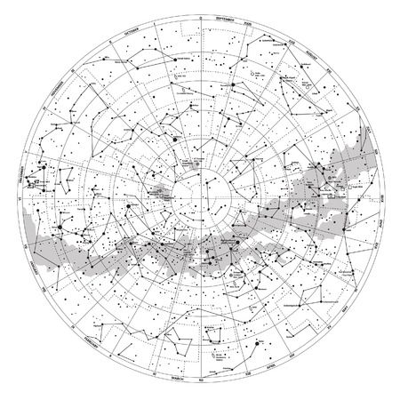 High detailed sky map of Southern hemisphere with names of stars and constellations vector