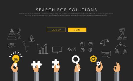 Illustration pour flat vector template search for solutions - image libre de droit