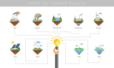 Illustration for Power plant icon vector symbol set on white - Royalty Free Image