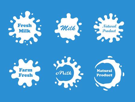 Milk splash vector set