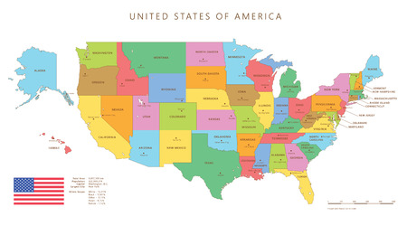 Silhouette and colored united states map with names and capitals background