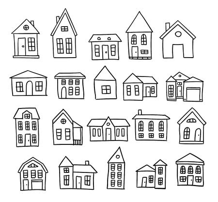 Ilustración de Hand drawn house cartoon architecture set - Imagen libre de derechos