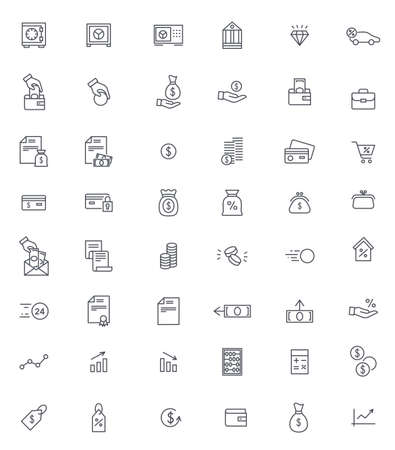 Illustration for Finance and banking thin icons vector set - Royalty Free Image