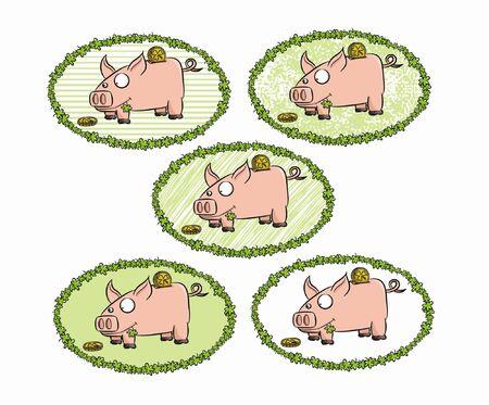 Five cartoon piggy bank in various frame