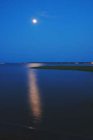 Moonrise in the Harbor in Charleston, SC