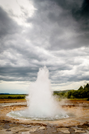 Sequence showing the eruption of the Stokkur geyser in Iceland