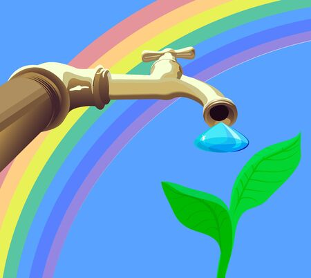 Drop from tap drops on plant against the rainbow