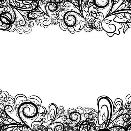 Abstract black border like as lace against the white background. Pattern contains place for your text.