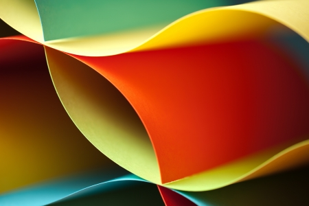 Photo for graphic abstract image of colorful origami pattern made of curved sheets of paper - Royalty Free Image