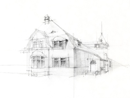 black and white architectural perspective of old house, drawn by hand