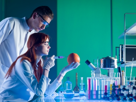 two scientists conducting an experiment on a grapefruit in a laboratory