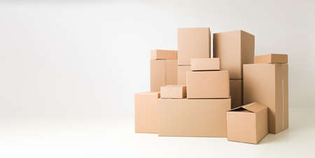 Photo for stack of cardboard boxes on white background - Royalty Free Image