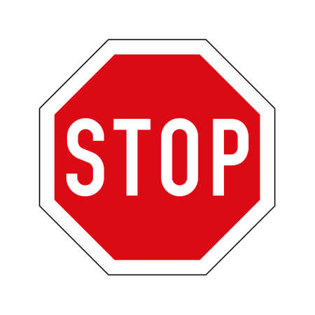 Illustration pour European variant of stop road sign. Red octagon with white border and stop text. - image libre de droit
