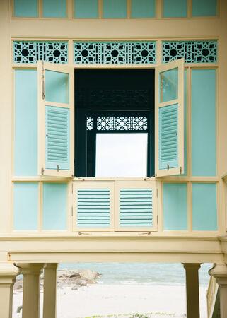 Beautiful window at Mrigadayavan Palace (Marukhathaiyawan) in Cha-Am, Thailand
