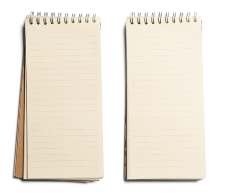 collection of various paper page notebook. textured isolated on the white backgrounds