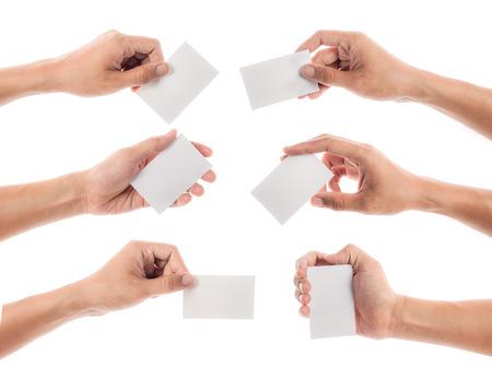 Photo pour Hands hold business cards on white background - image libre de droit
