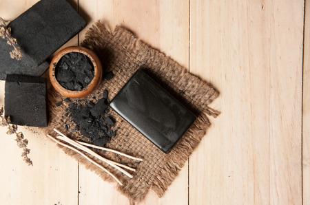 Photo pour block of natural carbon soap and Black charcoal - image libre de droit