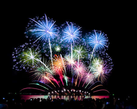 Photo for Fireworks light up the sky,Crowd watching fireworks and celebrating for Christmas and New Year design - Royalty Free Image