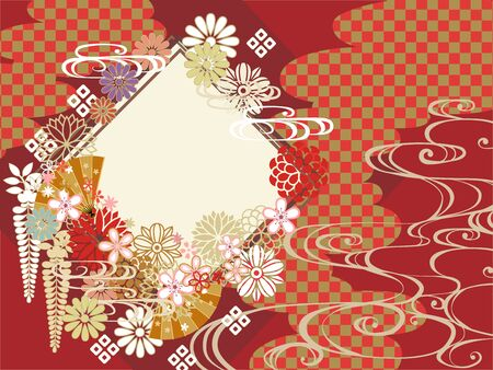 Illustration pour Japanese pattern background material for New Year - image libre de droit