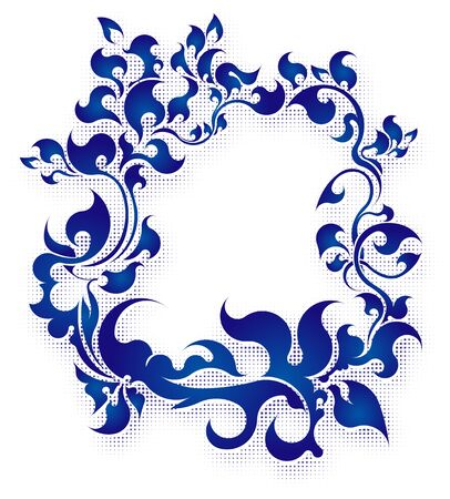Rich decorated floral frame in blue gamma