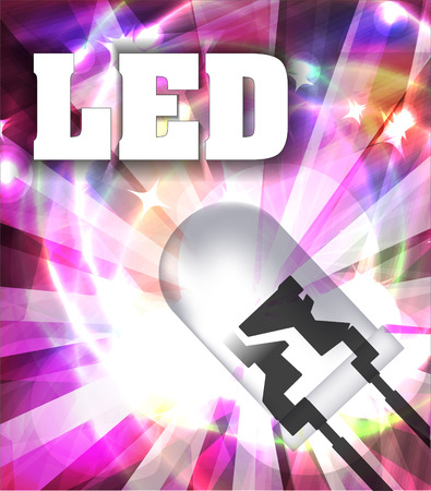 Designed with LED and rays. Colorful background.