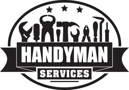Illustration pour Handyman services solid gubber stamp for your logo or emblem with banner and set of workers tools. - image libre de droit