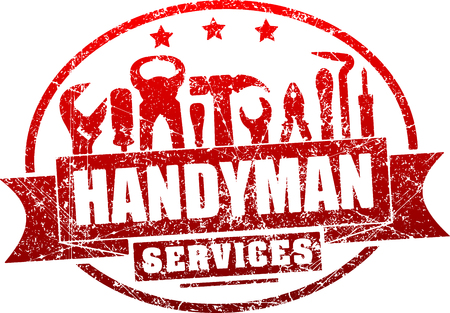 Illustration for Handyman services red, grunge rubber stamp for your logo or emblem with banner and set of workers tools. - Royalty Free Image