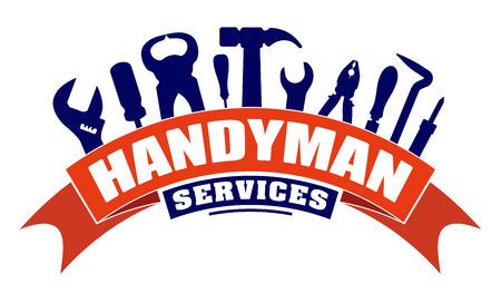 Illustration pour Handyman services vector design for your  emblem with bend red banner and set of workers tools. There are wrench, screwdriver, hammer, pliers, soldering iron, scrap. - image libre de droit